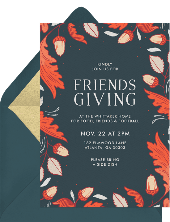 A Thanksgiving invitation with a border of illustrated oak leaves and acorns