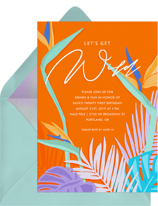 teen birthday party ideas: luau party invitation from Greenvelope