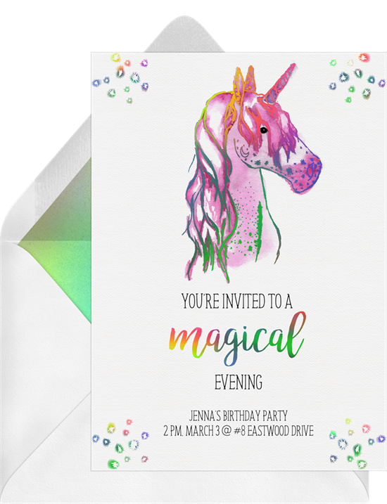 Birthday party ideas: an invitation for a unicorn disco party