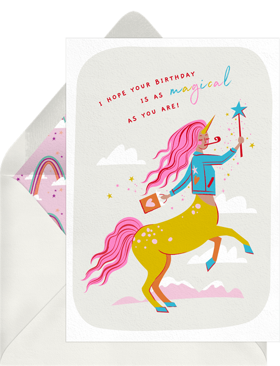 """Birthday card featuring a custom illustrated centaur/unicorn with flowing pink hair, surrounded by clouds and glittering stars. The birthday message reads, """"I hope your birthday is as magical as you are!"""""""