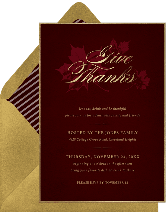 A red and gold Thanksgiving invitation with illustrated fall leaves