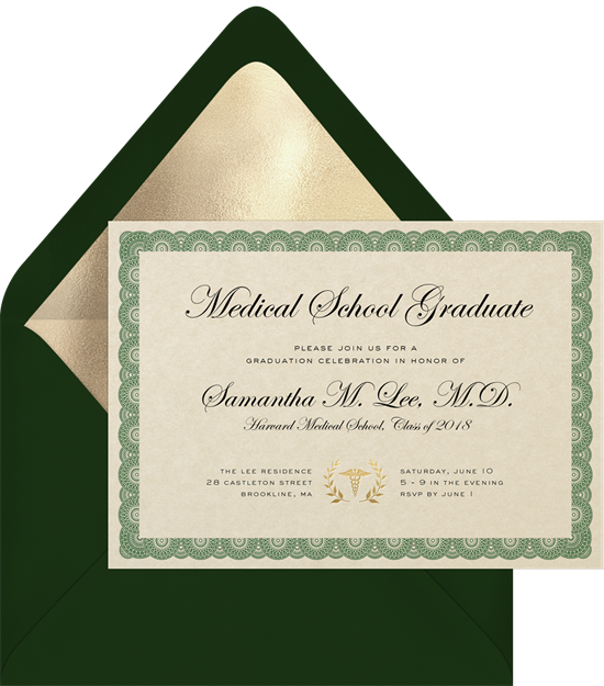 Online graduation invitations designed to look like a medical school diploma