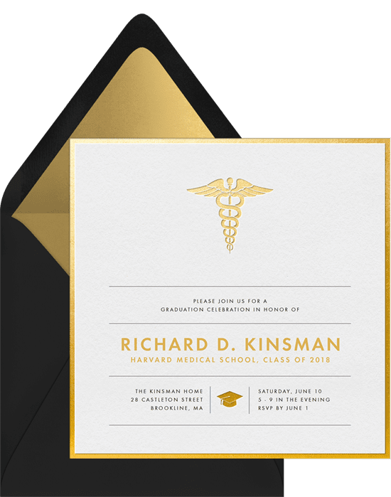 Graduation Invitations: medical grad invitations gold