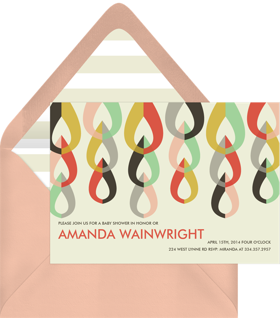 Online baby shower invitations Mod tear drop shapes in a 70s color pallet