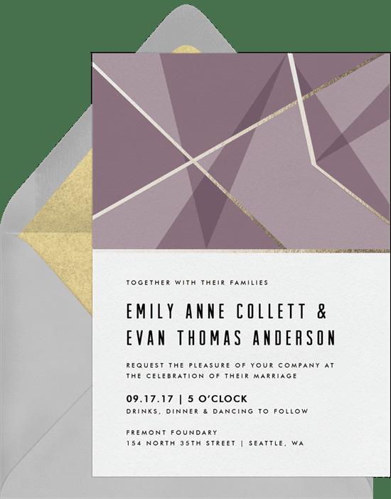 Violet wedding invitation from Greenvelope