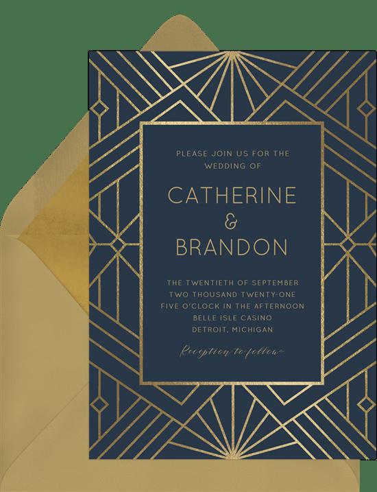Art Deco wedding invitation: Modern Art Deco Invitation from Greenvelope