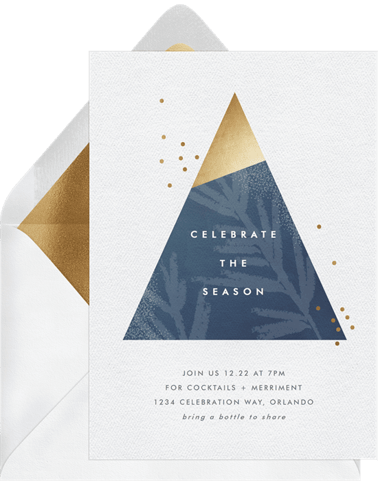 A Christmas party invitation with a modern, blue and gold geometric tree
