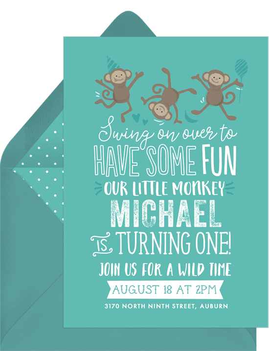 Funny birthday cards: monkey around invitations green