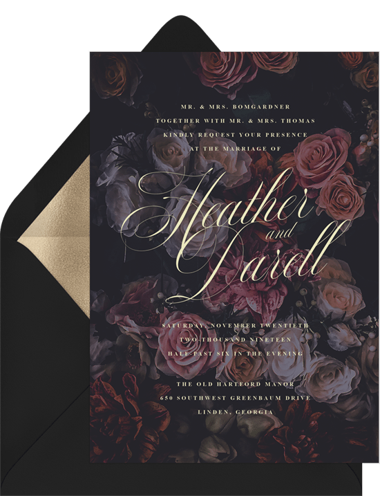 Halloween wedding ideas: Moody Florals Invitation from Greenvelope
