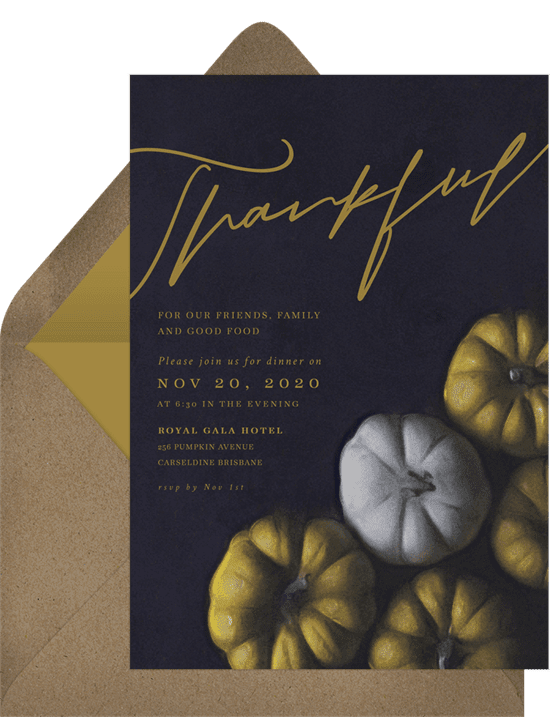 A Thanksgiving invitation with a black background and green and white pumpkins