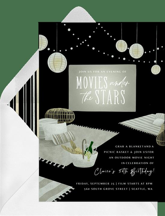 teen birthday party ideas: movie night party invitation from Greenvelope