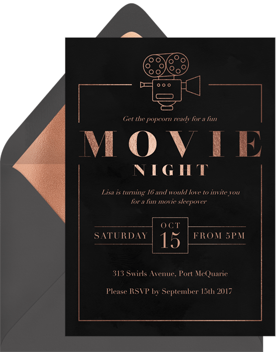 slumber party ideas: move night invitation from Greenvelope