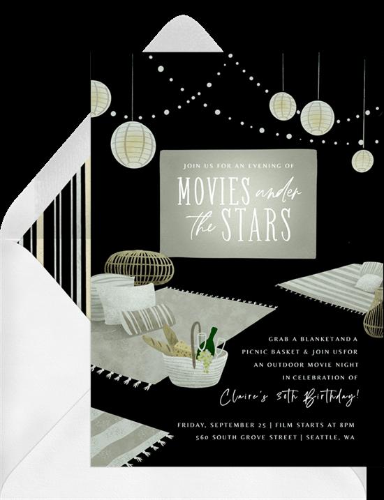 movie night invites: movie under the stars invitation from Greenvelope