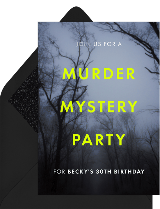 teen birthday party ideas: mystery night party invitation from Greenvelope