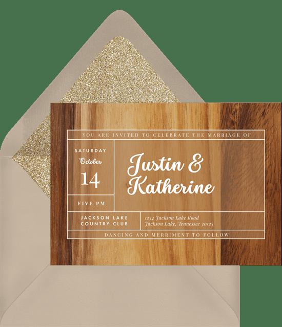 fall wedding invitations: Northern Woods Invitation from Greenvelope