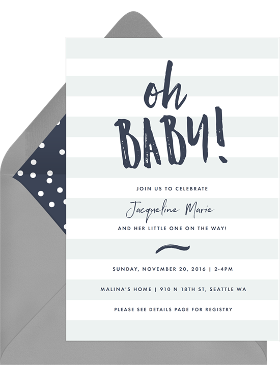 Baby shower ideas: A nautical-striped invitation for a sailor-themed shower