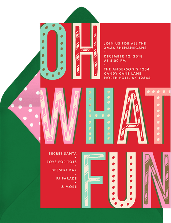 """A Christmas party invitation with text that reads """"Oh What Fun"""""""