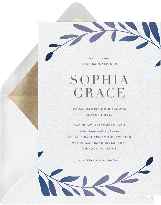 A formal invitation with a laurel leaf border and modern serif font