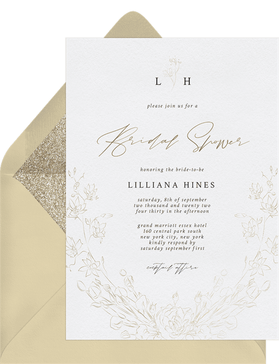 A formal invitation with a floral wreath border and gold-foil script