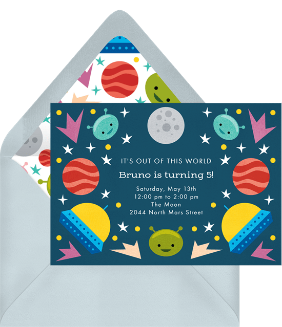 space themed party: outer space party invitation from Greenvelope