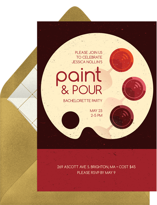 Bachelorette party ideas: An invitation to a paint and pour party