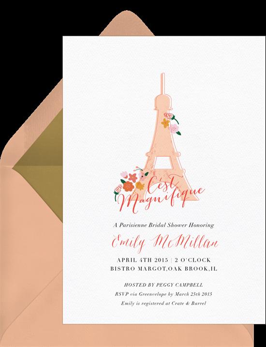 Parisian party theme: Parisian bridal shower invitation from Greenvelope