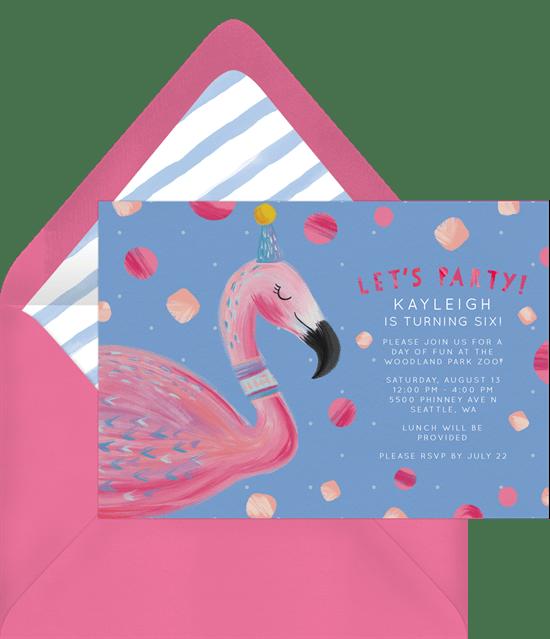 sleepover invitations: Party Flamingo Invitation from Greenvelope