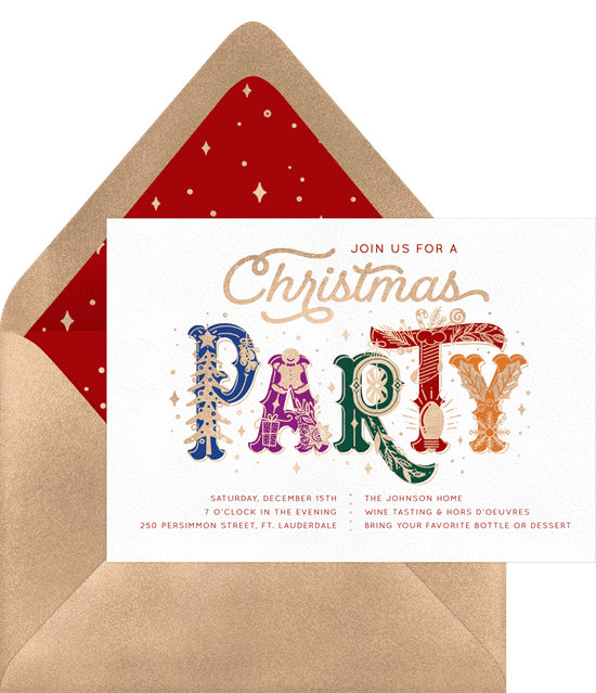 Holiday party invitations with elaborately illustrated font