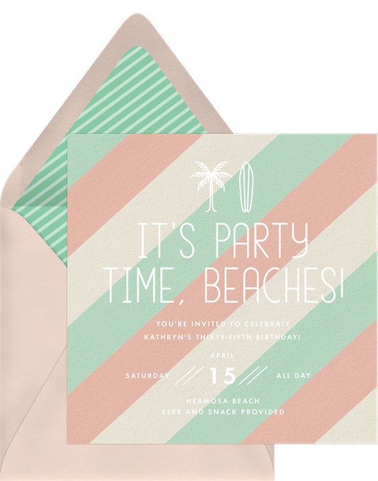 Things to do on your birthday: An invitation for a beach party