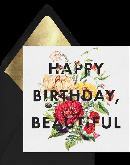happy birthday ecard: Floral design