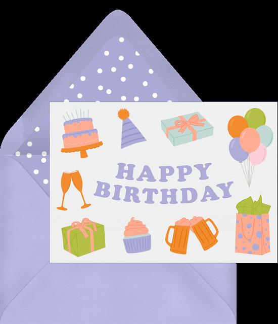 Happy birthday ecard: Fun purple design