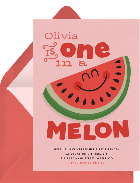 One In A Melon Invitation