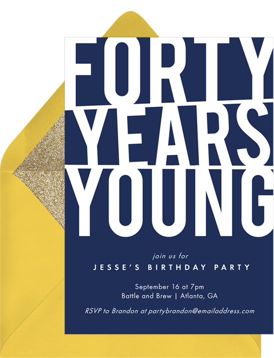 Forty Years Young Invitation