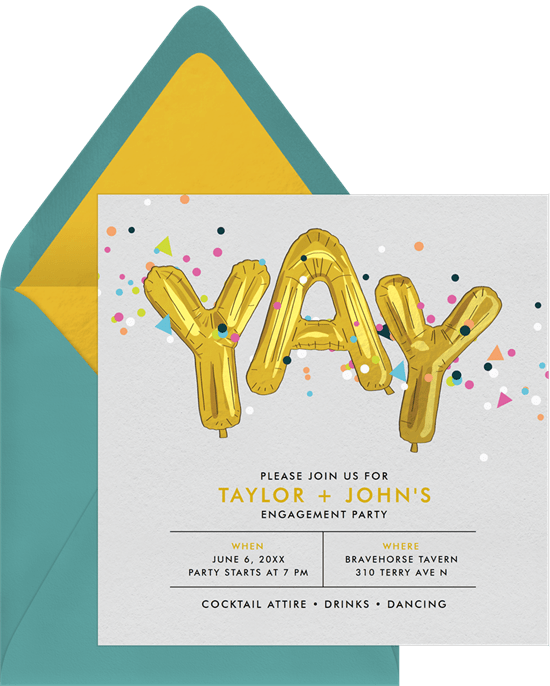 Engagement party ideas: Pizza Party invitation style
