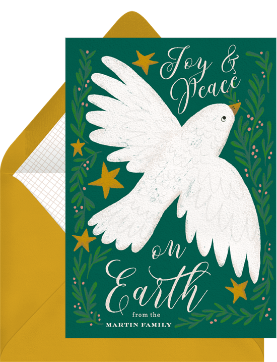 Joy and Peace Christmas card wording from Greenvelope