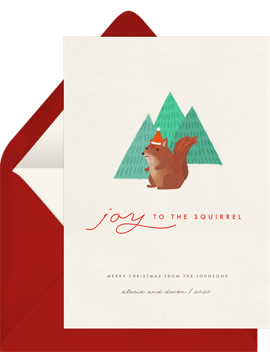 Joy to the Squirrel Christmas card wording