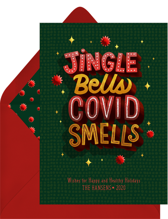Jingle bells COVID smells Christmas card