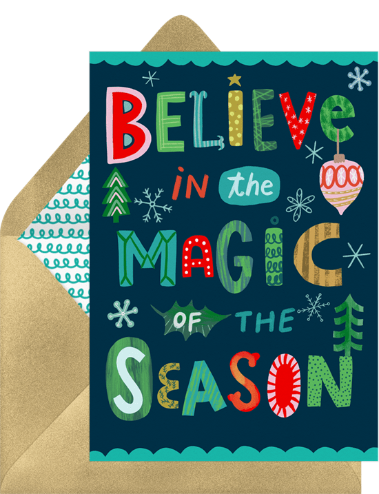 Believe in the magic of the season Christmas card