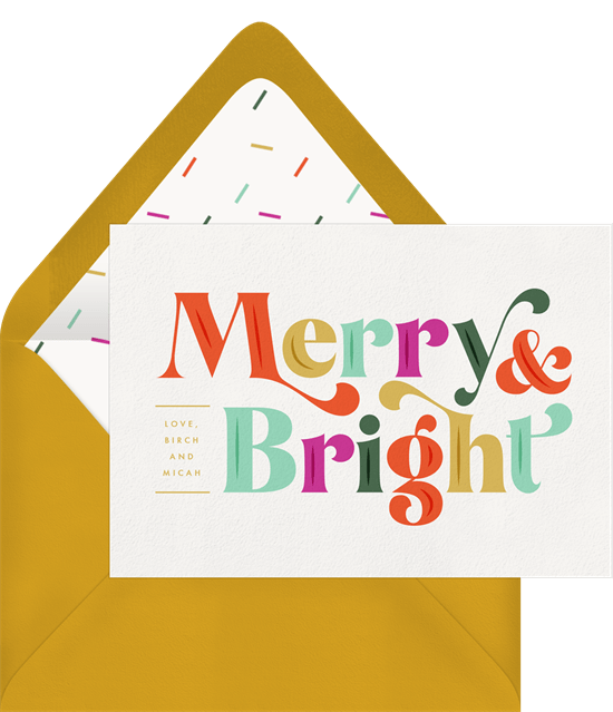 Merry and Bright Christmas card wording
