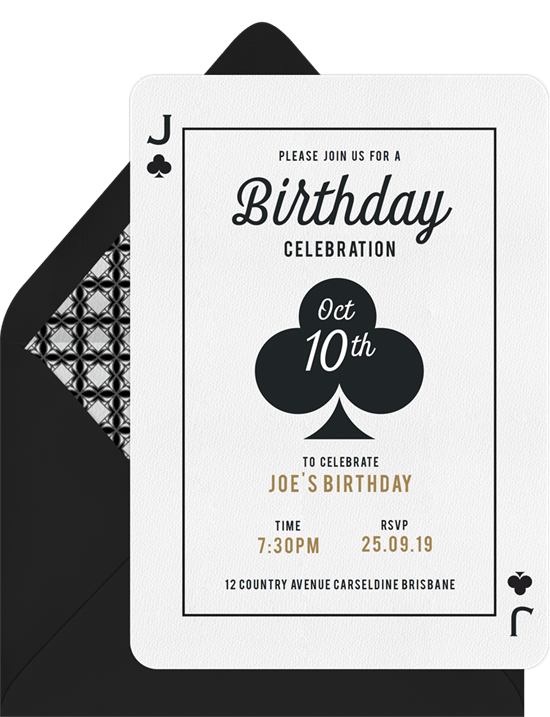 Casino theme party invitation for birthday celebration