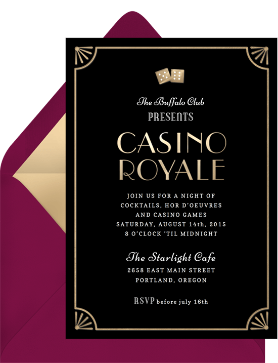 Casino theme party invitation