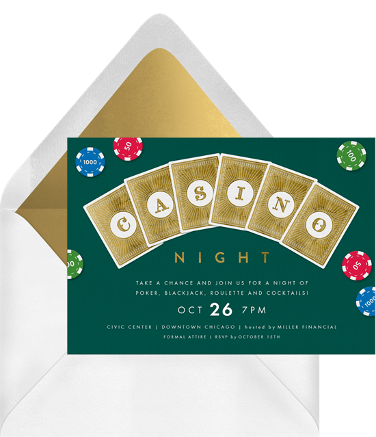 Casino Night theme party invitation