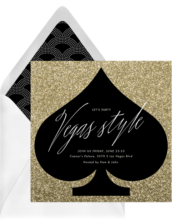 Vegas Style invitation for a casino theme party