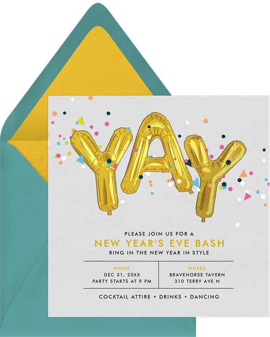 Decade Themed Bash New Years Eve party invitation from Greenvelope