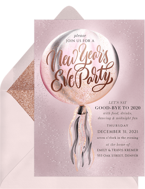 Romantic Elegance New Years Eve party invitation from Greenvelope