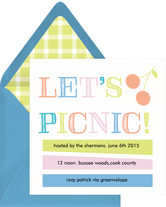 backyard picnic ideas: An invitation for a picnic by Greenvelope