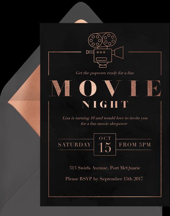 Sweet 16 themes: Movie night invitation by Greenvelope