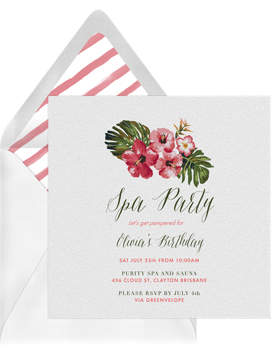 Sweet 16 themes: Spa party invitation by Greenvelope