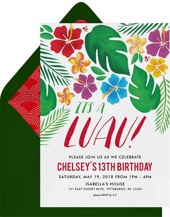 Sweet 16 themes: Hawaiian Luau invitation by Greenvelope