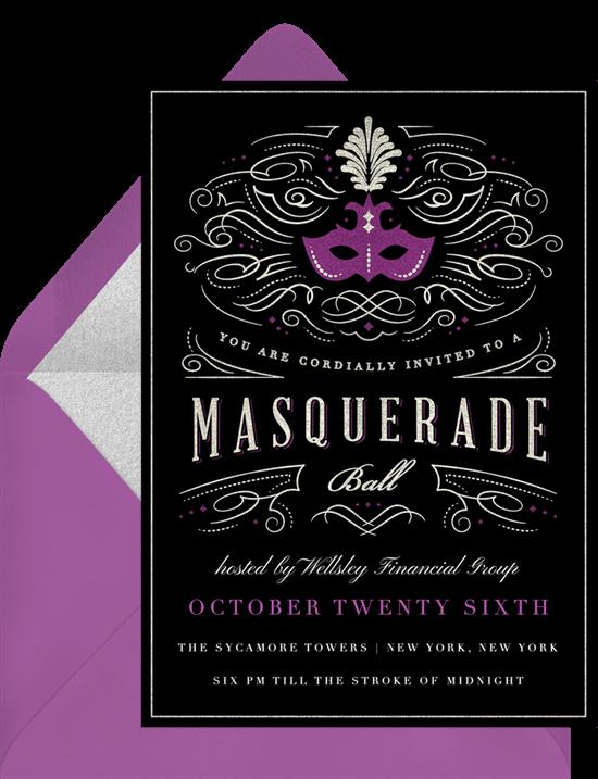 Sweet 16 themes: Masquerade ball invitation by Greenvelope
